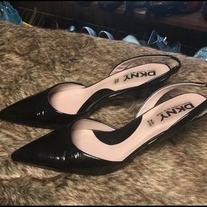 SEXY DKNY Patent Leather Low Heels.